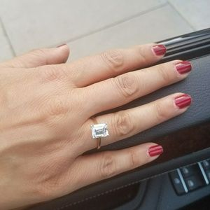 14k Yellow Gold 2.5ct Emerald cut Engagement Ring